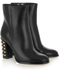 MICHAEL Michael Kors Linden Studded Leather Ankle Boots - Lyst
