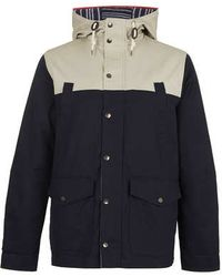 Topman Navy Colour Block Mountain Parka - Lyst