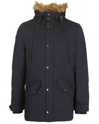Topman Navy Heavyweight Parka Coat - Lyst