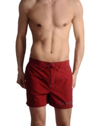 Calvin Klein Red Swimming Trunks - Lyst