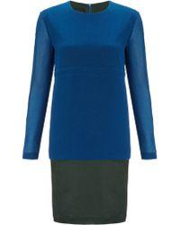 Cedric Charlier Blue Long-Sleeved Dress - Lyst