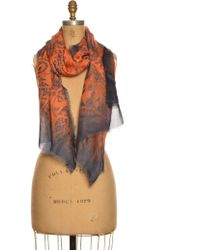 Emma J Shipley - Luxe Amazon Jungle Oversized Flame Colour Scarf By - Lyst
