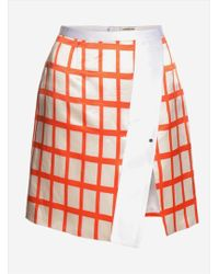 Eudon Choi Orange White Marcella Skirt By - Lyst