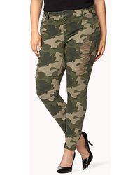 Forever 21 Destroyed Camo Skinny Jeans - Lyst