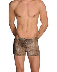 Gucci Brown Swimming Trunks - Lyst