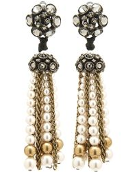 Lanvin - Crystal Pearl Tassel Earrings - Lyst
