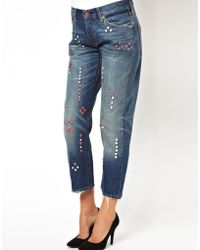 Levi's Levis Studded 501 Boyfriend Jeans - Lyst