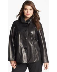 Ellen Tracy Aline Leather Jacket - Lyst
