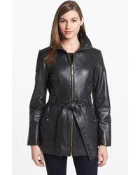 Ellen Tracy Belted Leather Jacket - Lyst