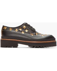 Marni Black and Gold Leather Cut_out Creepers - Lyst