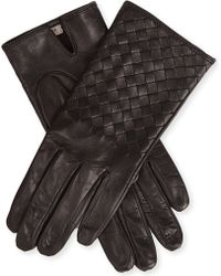 Bottega Veneta Intrecciato Leather Gloves - For Women - Lyst