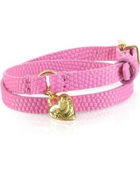 Juicy Couture - Double Wrap Pink Leather Bracelet - Lyst