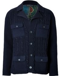 Etro Wool Cable Knit Cardigan with Silk Lining - Lyst