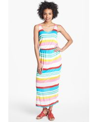 Olivia Moon Multi Stripe Maxi Dress - Lyst