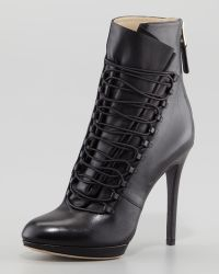 B Brian Atwood Foggla Laceup Leather Bootie Black - Lyst