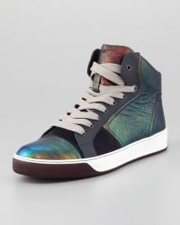 Lanvin Iridescent Leather Hightop Sneaker - Lyst