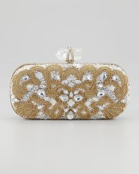 Marchesa Lily Medium Embroidered Crystal Box Clutch Black - Lyst
