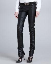 Oscar de la Renta Low-rise Skinny Leather Pants Black - Lyst