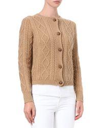 Ralph Lauren Cashmere-blend Cable-knit Cardigan - Lyst