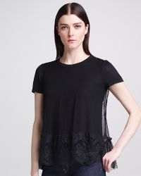 RED Valentino Point Desprit Lace Tee Black - Lyst