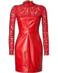 Valentino Leatherlace Dress red - Lyst