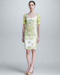 Versace Pegasusprint Halfsleeve Sheath Dress - Lyst