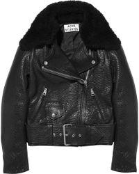 Acne Studios Mape Shearling Collar Leather Biker Jacket - Lyst
