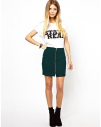 Asos Mini Skirt In Crepe With Zip Front - Lyst
