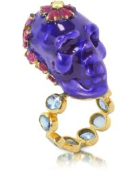 Bernard Delettrez - Electro Skull Ring With Red And Blue Flowers - Lyst