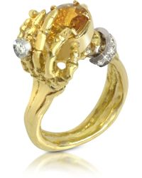 Bernard Delettrez - Yellow Sapphires and Gold Skeleton Hands Ring - Lyst