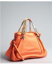 Chloé Bright Orange Leather Paraty Medium Top Handle Bag - Lyst