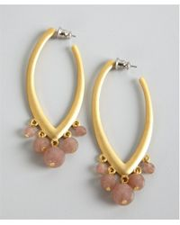 David Aubrey - Gold and Pink Jade Drop Hoop Earrings - Lyst
