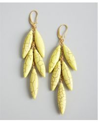 David Aubrey - Yellow Tiered Cracked Stone Drop Earrings - Lyst