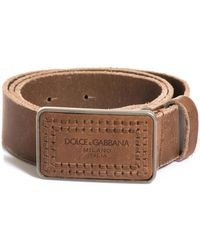 Dolce & Gabbana Distressed Leather Stamp Buckle Belt - Lyst
