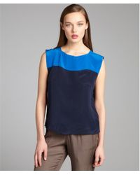 French Connection Azure And Navy Silk Colorblocked Sleeveless Blouse - Lyst