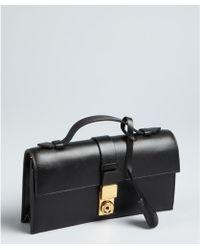 Giorgio Armani Black Leather Top Handle Convertible Shoulder Bag - Lyst