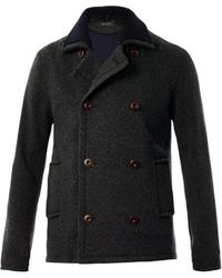 Gucci Double Breasted Knitted Jacket gray - Lyst