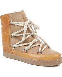 Isabel Marant Nowles Suede and Leather Boots Beige - Lyst