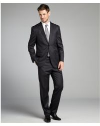 Joseph Abboud Charcoal Pin Stripe Wool 2 Button Suit with Flat Front Pants - Lyst