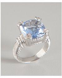 Judith Ripka Blue Quartz and Diamond Fontaine Ring - Lyst