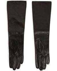 Mango Leather Long Gloves - Lyst