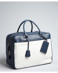 Prada Blue And White Leather Large Zip Travel Bag blue - Lyst
