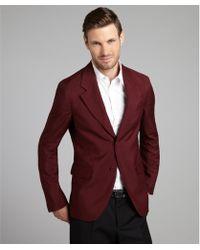 Prada Bordeaux Mohair Blend Two Button Blazer red - Lyst