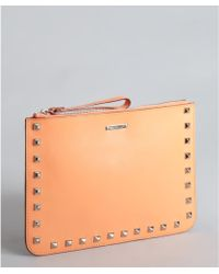 Rebecca Minkoff Tangerine Leather Pyramid Studded Kerry Wristlet Pouch - Lyst