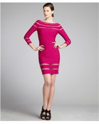 Tadashi Shoji Magenta Ribbed Jersey Knit Netted Three Quarter Sleeve Dress - Lyst