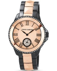 Vince Camuto - Rose Gold Tone and Gunmetal Two Tone Watch 38mm - Lyst