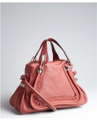 Chloé Brick Red Leather Paraty Medium Convertible Top Handle Bag - Lyst