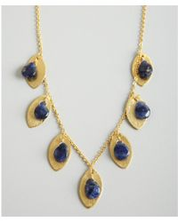 Wendy Mink | Gold and Blue Soldaite Bead Leaf Necklace | Lyst