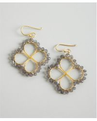 Wendy Mink - Gold and Labrodorite Bead Four Leaf Clover Earrings - Lyst