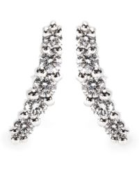 Stone - 18kt White Gold Line Button Earrings with Pavé Diamonds - Lyst